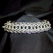 Vintage jewelry signed Goldette multi chains silver-tone bracelet