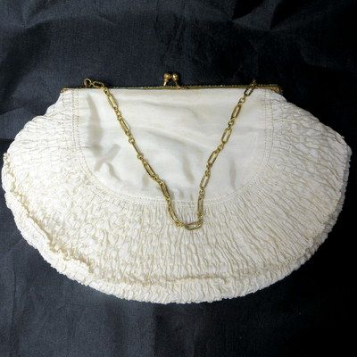 Early vintage faux seed pearls delicate ruched silk purse minaudiere
