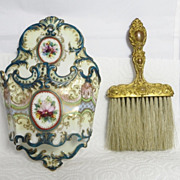 SOLD Vintage luxury Nippon Noritake hand painted ornate whisk broom holder