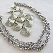 Vintage runway articulated cascading huge pendant silvertone necklace