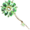 Vintage jewelry huge peridot glass figural flower brooch