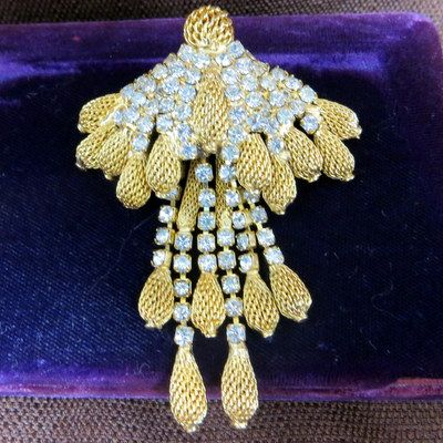 Vintage Castlecliff jewelry dripping waterfall brooch earrings luxury bling