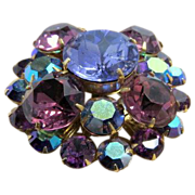 Vintage major bling huge brooch glass royal purple hues Linda Caricofe collection