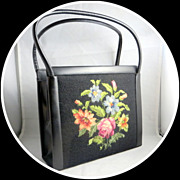 Vintage fashion accessories Kelly handbag beautiful roses flowers needlework