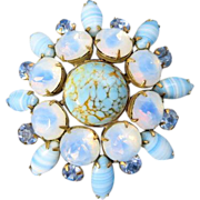 Vintage jewelry huge Moonstone cabochons blue rhinestones brooch