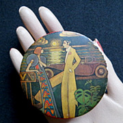 Vintage circa 1920's flapper trinket box lithographed lovers in moonlight