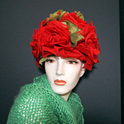 Vintage fashion hat Paris Apt shabby chic huge Red Poppy flowers hat
