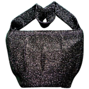 Vintage 1950's black glass beaded top handle handbag purse luxury bling