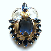 Large vintage Julianna Juliana blue brooch pendant metal accents ultra fine beauty