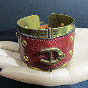 SOLD Vintage Etienne Aigner hard to find leather brass cuff buckle bracelet