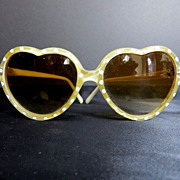 Vintage 1950's retro runway polka dots heart shape lens sunglasses