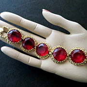 Vintage luxury costume jewelry chunky red glass bracelet total bling