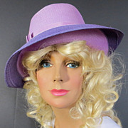 Vintage 1970's 1980's Lilac derby wide front brim hat perfect for all fashions