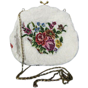 Vintage beaded petit point needlepoint flower shoulder chain strap handbag purse