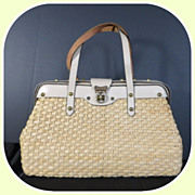 Vintage high end well made rattan straw leather top handle handbag purse