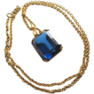 Vintage luxury jewelry huge solid cobalt blue glass pendant necklace