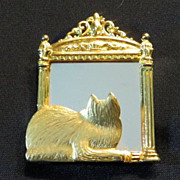 Large vintage cat brooch pin signed JJ Cat loves his mirror reflection