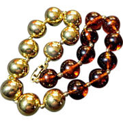 Vintage Napier chunky luxury huge gold-tone beads faux Amber beads