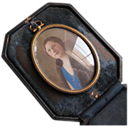 Vintage hand painted miniature portrait of lady on glass in travel case