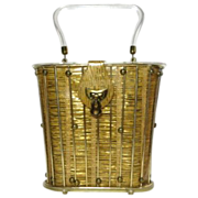 Vintage Lucite handle tall bucket handbag purse with faux straw pattern