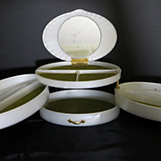 SOLD Vintage 1950's Rialto Lucite triple fold out jewelry box pearly white