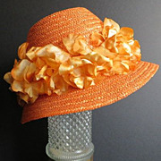 Vintage Italy faux straw orange crush color fabric flowers hat
