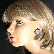 Vintage Lilac button clip back earrings amethyst chanel set rhinestones