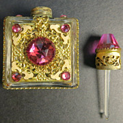 Vintage Czechoslovakia ornate miniature perfume bottle filigree overlay jewels