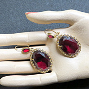 Vintage designer signed Monet earrings Ruby Red Glass pierced ears