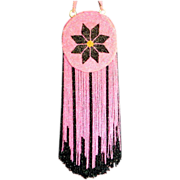 Vintage Flapper era beaded purse rare long fringe vivid pink and black colors