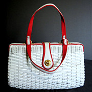 Vintage handbag purse Summer white with red trim wicker handmade Hong Kong