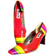 Colorful vintage Renica heels beautiful colors clear sides block heels 7.5 M