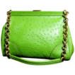 Vintage juicy green faux ostrich Chain handle shoulder strap handbag purse