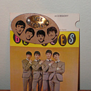 Original Beatles Memorabilia: Beatles Leather Pin on Original Backing Card