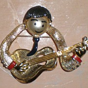 SALE Original Beatles Memorabilia: Beatle Playing Guitar Pin/Brooch NEMS ENT. LTD.