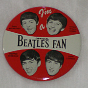 Original Beatles Memorabilia: Official Beatles Fan Button 1964