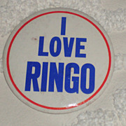 Original Beatles Memorabilia: 1964 I Love Ringo Button
