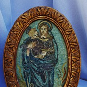 SALE Rare 17th C. Italian Needlework, Virgin And Child, 18th Century Frame