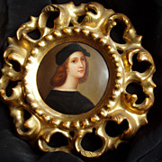 Miniature Portrait Of Raphael On Porcelain -Gilt Rococo Frame