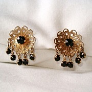 Pretty Vintage Filigree Earrings, Screw Back, with Dangling Jet Black Glass Stones