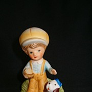 Charming Porcelain Figurine of Little Boy With Dog by Homco, # 1430