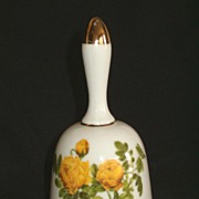 Large Hand Held Porcelain Bell, Yellow Roses on White by Enesco, Japan