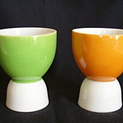 REDUCED China Egg Cups in Coordinating Colors of Ginger and Apple Green