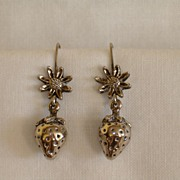 Cutest Vintage Strawberry and Blossom Earrings, Silver Tone Pierced