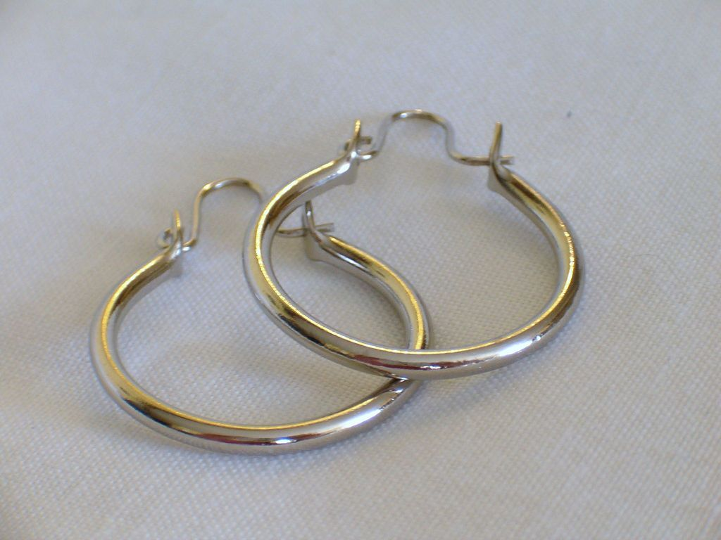 Silver Tone Hoop Earrings for Pierced Ears, Locking Wires