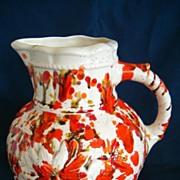 REDUCED Spectacular Ceramic Bulbous Form Pitcher With Gorgeous Spatter Glaze