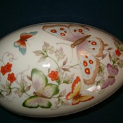Avon Porcelain Egg Vanity Trinket Box, Butterfly Pattern, 1974, 1979