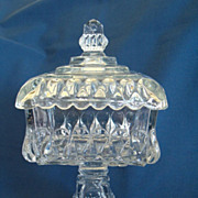 REDUCED EAPG Antique Crystal Wedding Lidded Pedestal Comport, Adams & Company