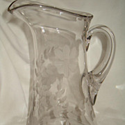 Tall Mold Blown Glass Pitcher, Wheel Etched Flower Spray Design, Applied Handle