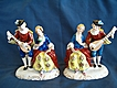 Old Matched Pair of Figurines, Colonial Couples, Japan in Red
